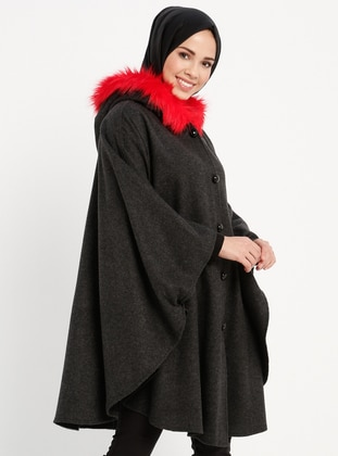 Red - Black - Unlined - Poncho