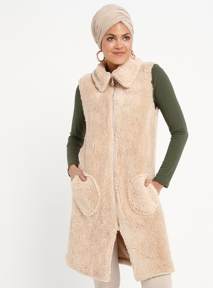 Beige - Fully Lined - Point Collar - Vest
