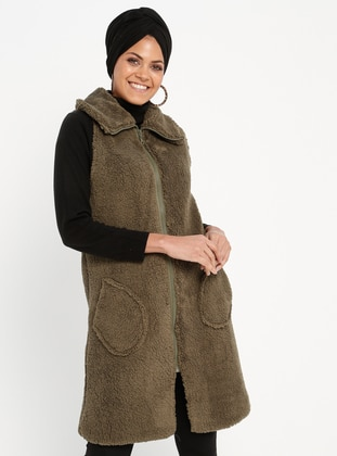 Khaki - Fully Lined - Point Collar - Vest