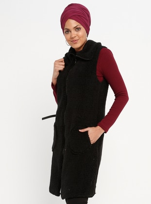 Black - Fully Lined - Point Collar - Vest