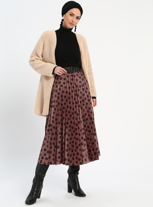 Brown - Polka Dot - Fully Lined - Skirt