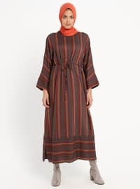 Smoke-coloured - Stripe - Crew neck - Tunic