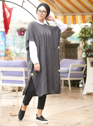 Anthracite - Crew neck - Cotton - Acrylic -  - Poncho - İnşirah