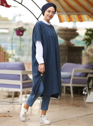 Indigo - Crew neck - Cotton - Acrylic -  - Poncho