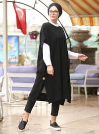 Black - Crew neck - Cotton - Acrylic -  - Poncho