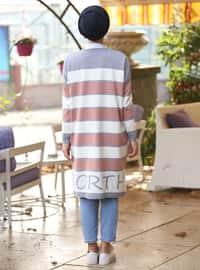 Gray - Stripe - Crew neck - Cotton - Acrylic -  - Jumper