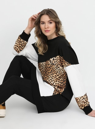 Black - Ecru - Leopard - Multi - Crew neck - Plus Size Tunic - Alia