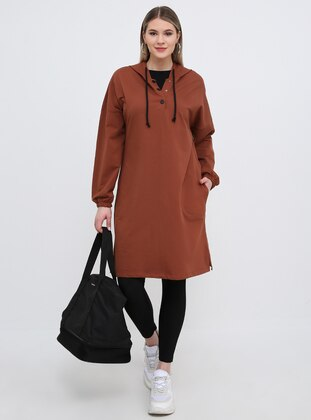Brown - Tan - Cotton - Plus Size Tunic