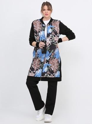 Black - Floral - Unlined - Plus Size Suit