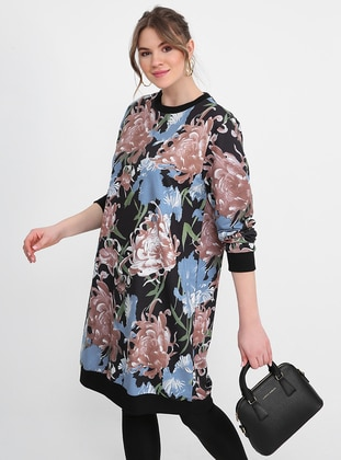 Blue - Black - Multi - Crew neck - Plus Size Tunic - Alia