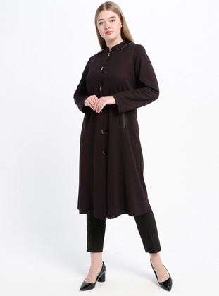 Plum - Unlined - Crew neck - Viscose - Plus Size Coat