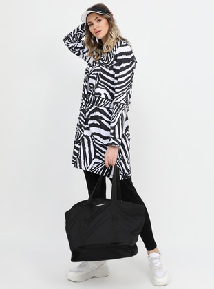 Black - White - Zebra - Multi - Crew neck - Plus Size Tunic