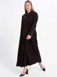 Plum - Unlined - Crew neck - Plus Size Coat