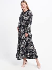 Navy Blue - Dusty Rose - Floral - Unlined - Crew neck - Plus Size Dress