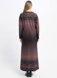 Dusty Rose - Multi - Unlined - Crew neck - Plus Size Dress