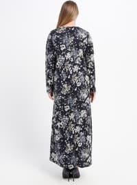 Blue - Navy Blue - Floral - Unlined - Crew neck - Plus Size Dress