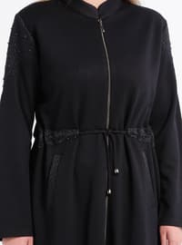 Navy Blue - Unlined - Crew neck - Viscose - Plus Size Coat