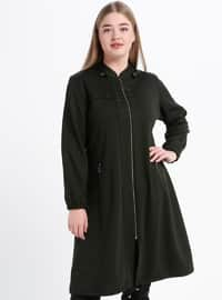 Khaki - Unlined - Crew neck - Viscose - Plus Size Coat