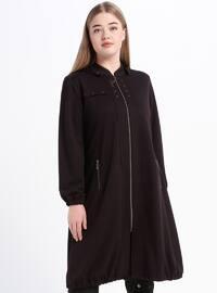 Plum - Unlined - Crew neck - Viscose - Plus Size Coat