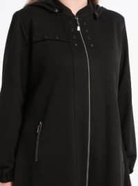 Black - Unlined - Crew neck - Viscose - Plus Size Coat