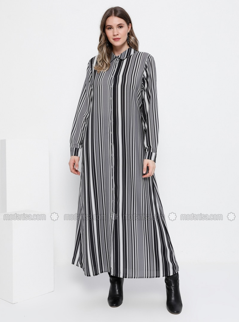 Black - Smoke - Stripe - Unlined - Point Collar - Plus Size Dress