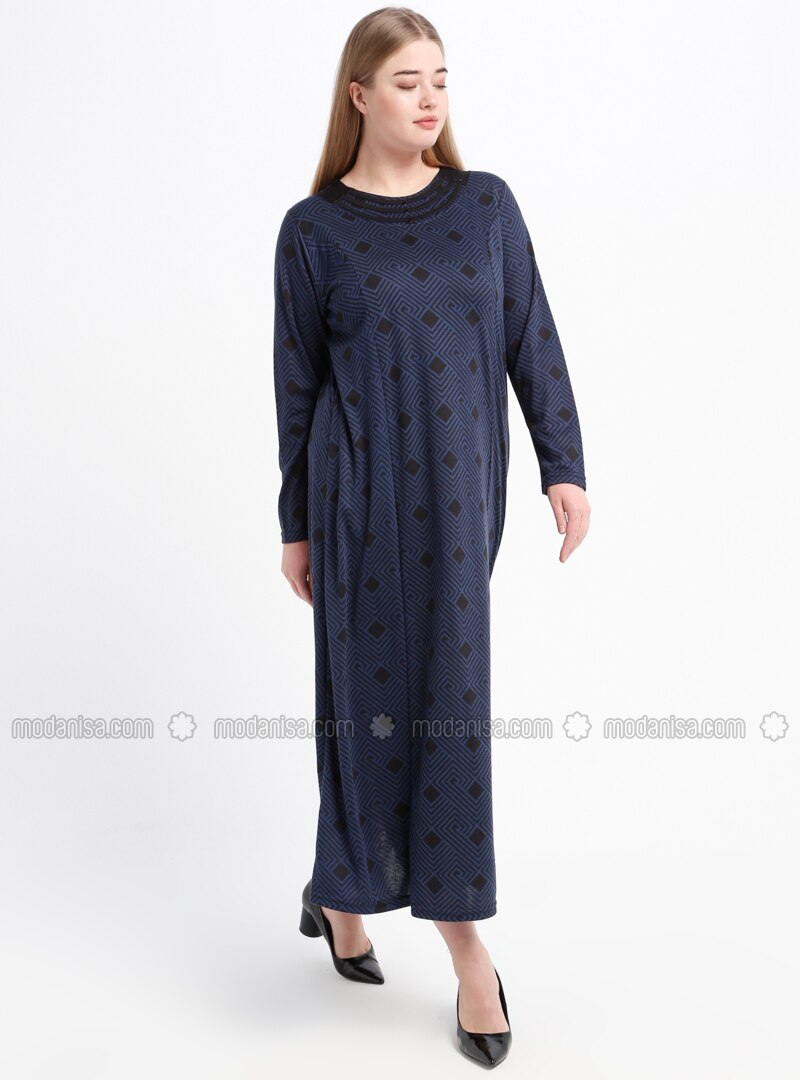 Navy Blue - Multi - Unlined - Crew neck - Plus Size Dress