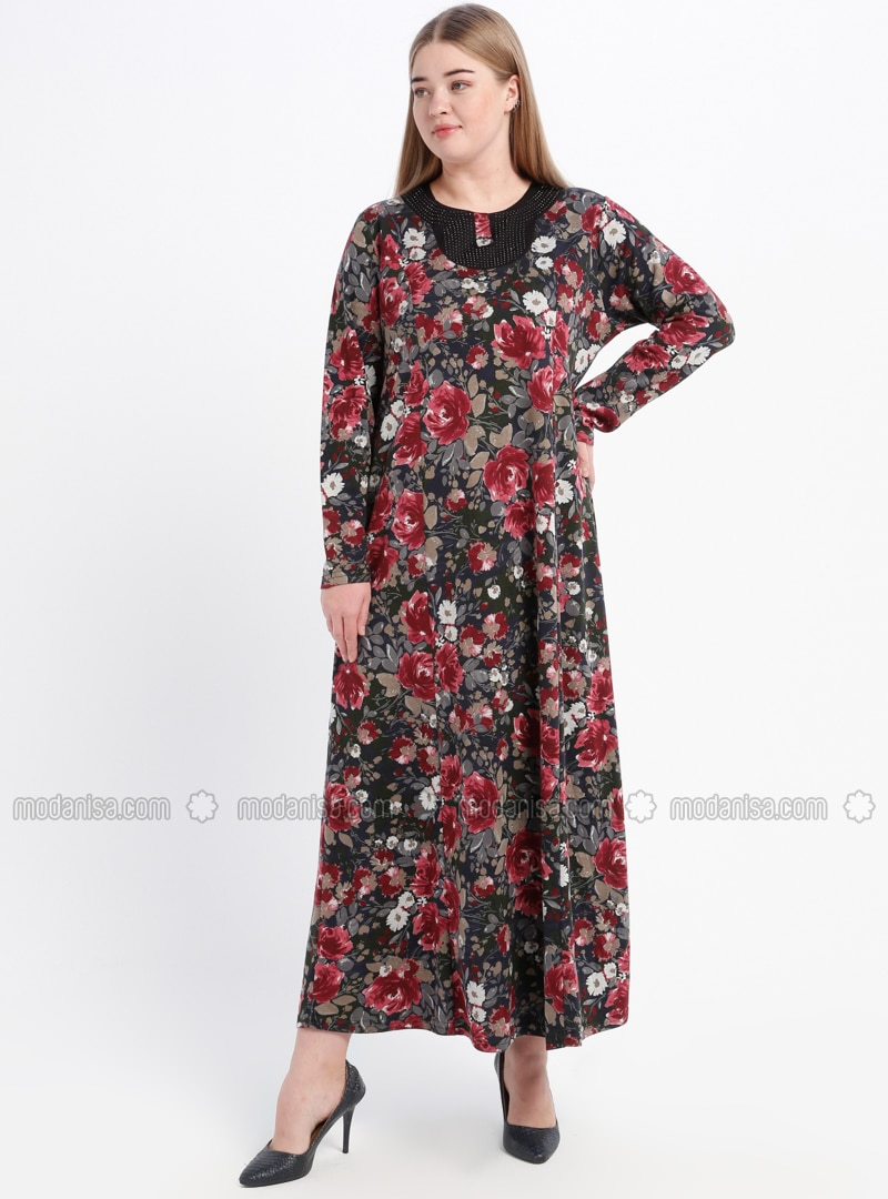 Maroon - Floral - Unlined - Crew neck - Plus Size Dress