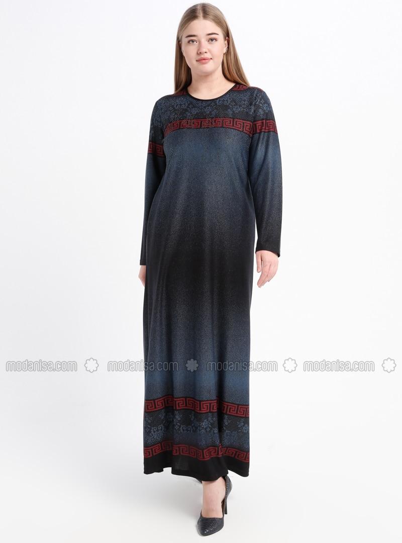Indigo - Multi - Unlined - Crew neck - Plus Size Dress