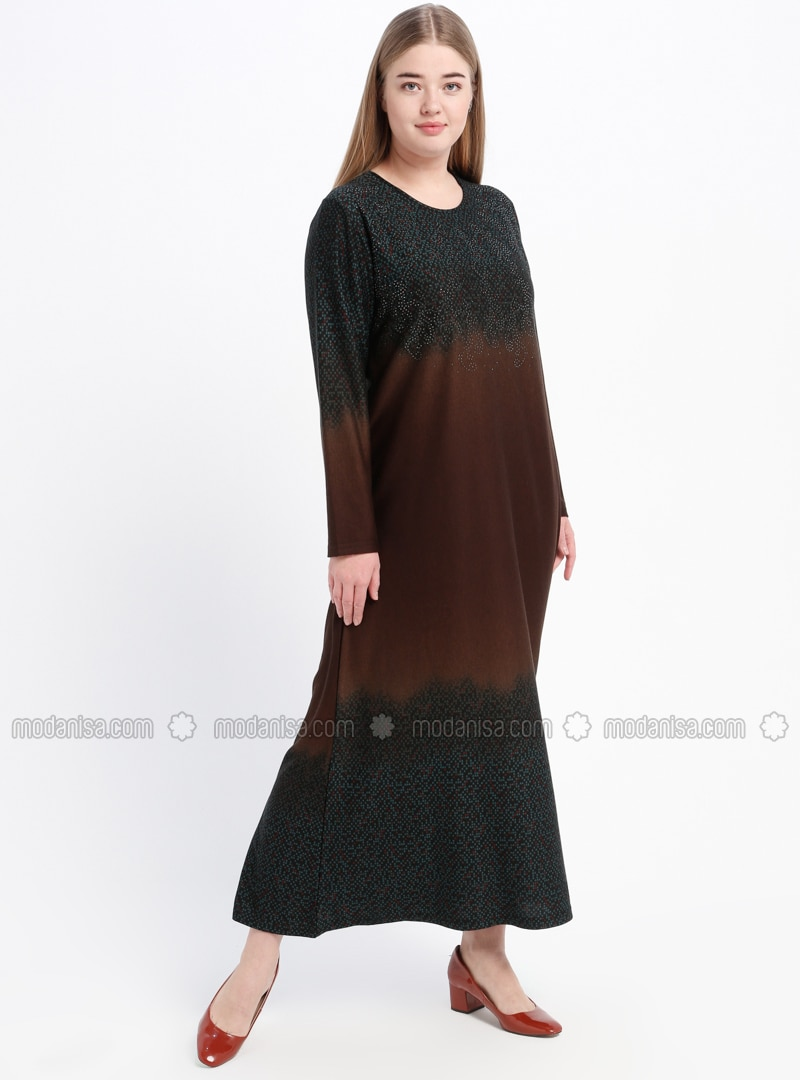 Green - Brown - Multi - Unlined - Crew neck - Plus Size Dress