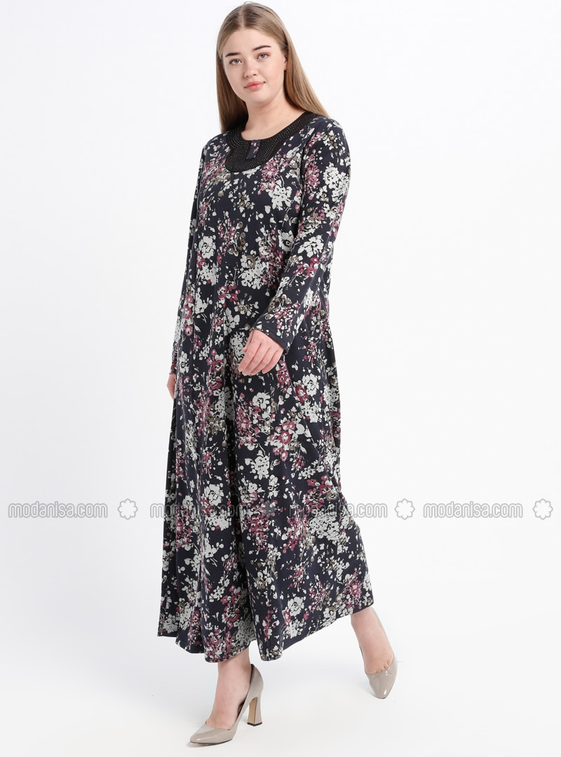 Navy Blue - Pink - Floral - Unlined - Crew neck - Plus Size Dress