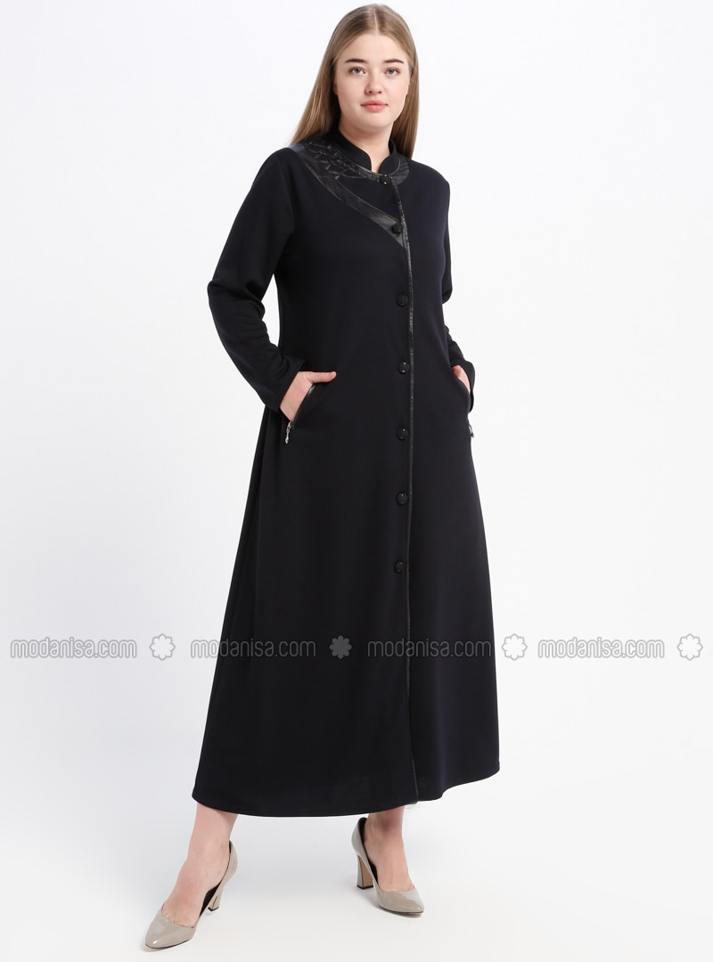 Navy Blue - Unlined - Crew neck - Plus Size Coat