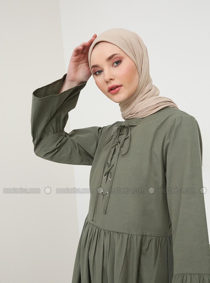 Khaki - Crew neck - Unlined - Dress