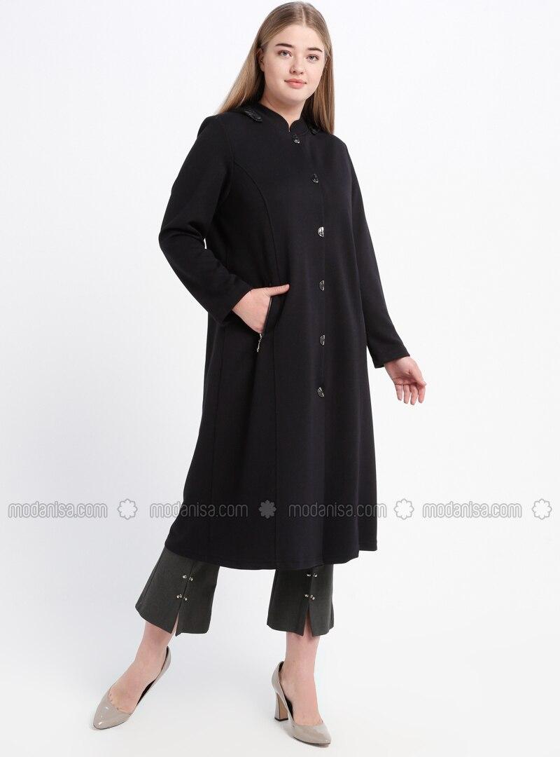 Navy Blue - Unlined - Crew neck - Viscose - Plus Size Coat