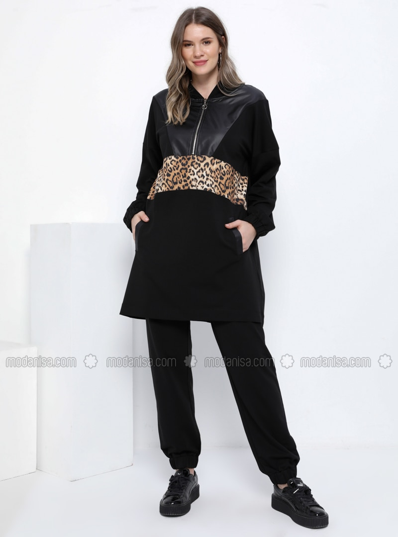 Black - Brown - Leopard - Unlined - Plus Size Suit