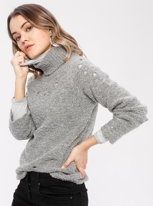 Gray - Polo neck - Wool Blend -  - Jumper
