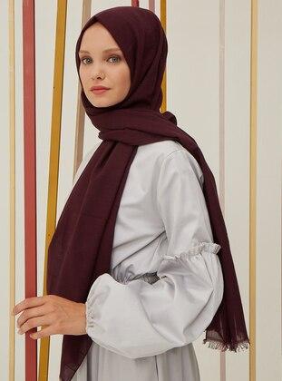 Purple - Striped - Cotton - Shawl