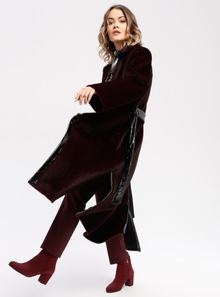 Maroon - Fully Lined - Point Collar - Coat