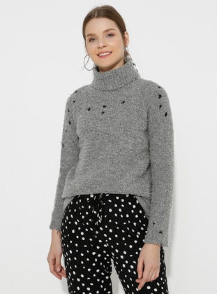 Gray - Polo neck - Acrylic -  - Wool Blend - Knitwear