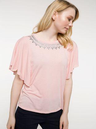 Pink - T-Shirt - DeFacto