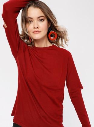 Red - Crew neck - Wool Blend -  - Knitwear