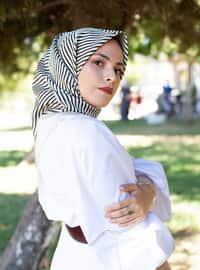 Cream - Printed - Scarf -  Eşarp & Şal