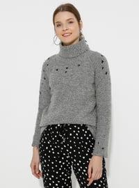 Gray - Polo neck - Acrylic -  - Wool Blend - Knitwear