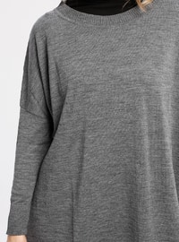 Gray - Anthracite - Crew neck - Acrylic -  - Tunic