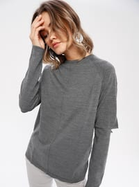 Anthracite - Crew neck - Wool Blend -  - Knitwear