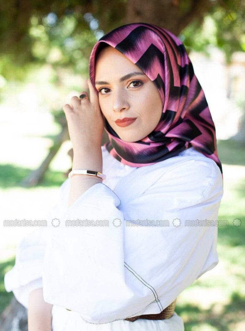 Dusty Rose - Printed - Scarf -  Eşarp & Şal