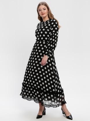 Black - White - Polka Dot - Crew neck - Fully Lined - Dresses