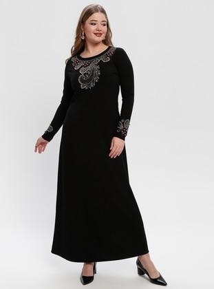 Black - Black - Unlined - Crew neck - Plus Size Dress