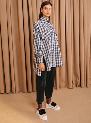 Gray - Plaid - Polo neck - Tunic