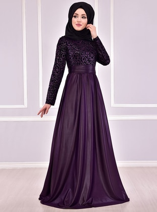 Black - Purple - Fully Lined - Crew neck - Muslim Evening Dress