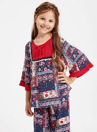 Navy Blue - Printed - Age 8-12 Blouse